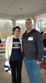 Jeannine Lewis, Dem candidate for Judge of Probate and First Selectman Candidate Sean Moriarty brave the rainy Pumpkin Run road race.