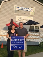 Selectman candidate Melissa Schlag and First Selectman candidate Sean Moriarty outside of our headquarters in the Higganum post office plaza on Rte. 81